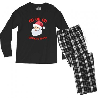 Oh Oh Oh Dyslexic Santa Funny Christmas Men's Long Sleeve Pajama Set Designed By Sr88