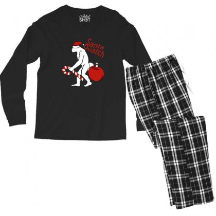 Santaquatch Bigfoot Silhouette Christmas Holiday Men's Long Sleeve Pajama Set Designed By Sr88