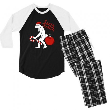 Santaquatch Bigfoot Silhouette Christmas Holiday Men's 3/4 Sleeve Pajama Set Designed By Sr88