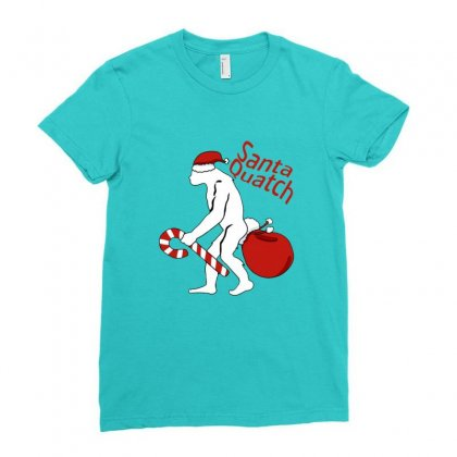Santaquatch Bigfoot Silhouette Christmas Holiday Ladies Fitted T-shirt Designed By Sr88