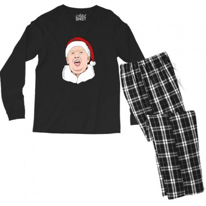 Sneezing Donald Trump Wearing A Santa Hat Christmas Men's Long Sleeve Pajama Set Designed By Sr88