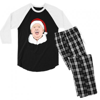 Sneezing Donald Trump Wearing A Santa Hat Christmas Men's 3/4 Sleeve Pajama Set Designed By Sr88