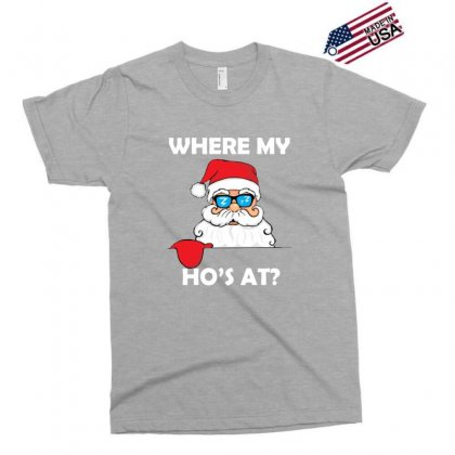 Where My Ho's At Funny Santa Christmas Holiday Exclusive T-shirt Designed By Sr88
