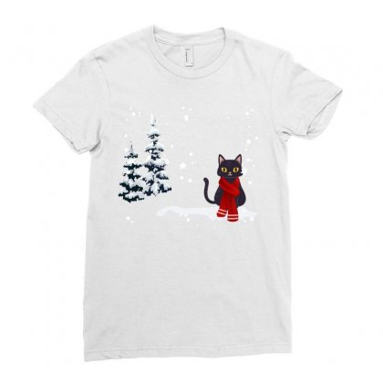 Merry Christmas Winter White Cat Ladies Fitted T-shirt Designed By Alparslan