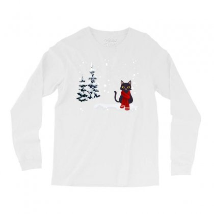 Merry Christmas Winter White Cat Long Sleeve Shirts Designed By Alparslan