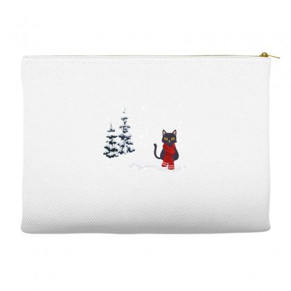 Merry Christmas Winter White Cat Accessory Pouches Designed By Alparslan