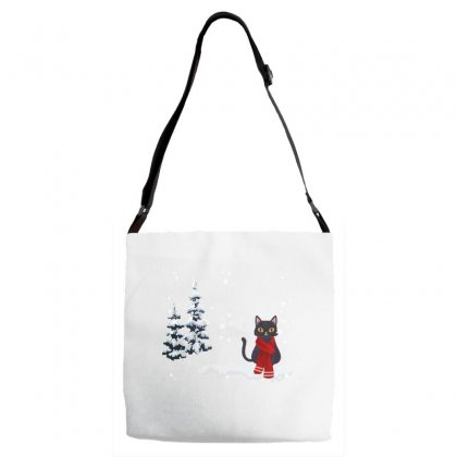 Merry Christmas Winter White Cat Adjustable Strap Totes Designed By Alparslan