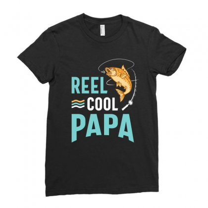 Reel Cool Papa Fishing Gift Father's Day Funny Ladies Fitted T-shirt Designed By Cidolopez