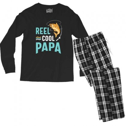 Reel Cool Papa Fishing Gift Father's Day Funny Men's Long Sleeve Pajama Set Designed By Cidolopez
