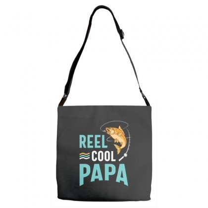 Reel Cool Papa Fishing Gift Father's Day Funny Adjustable Strap Totes Designed By Cidolopez