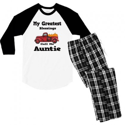 My Greatest Blessings Call Me Auntie Pumpkin Thanksgiving Men's 3/4 Sleeve Pajama Set Designed By Alparslan