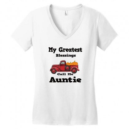My Greatest Blessings Call Me Auntie Pumpkin Thanksgiving Women's V-neck T-shirt Designed By Alparslan