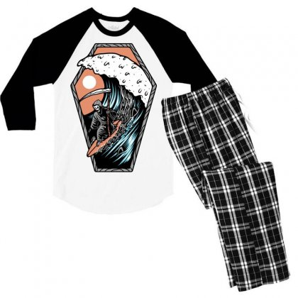 Surf Till Die Men's 3/4 Sleeve Pajama Set Designed By Quilimo