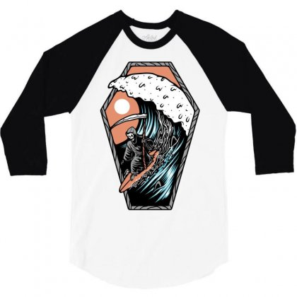 Surf Till Die 3/4 Sleeve Shirt Designed By Quilimo