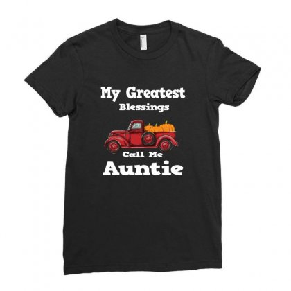 My Greatest Blessings Call Me Auntie Pumpkin Thanksgiving Ladies Fitted T-shirt Designed By Alparslan