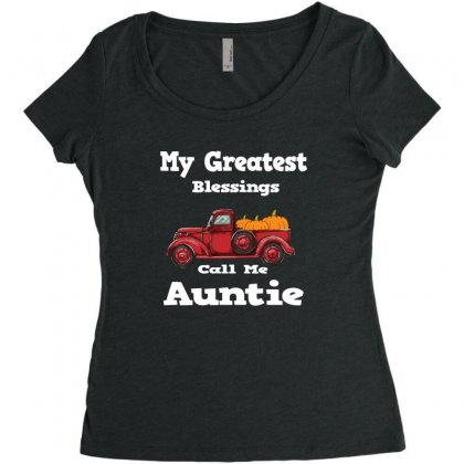 My Greatest Blessings Call Me Auntie Pumpkin Thanksgiving Women's Triblend Scoop T-shirt Designed By Alparslan