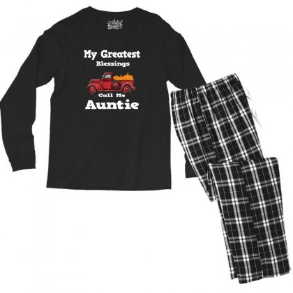 My Greatest Blessings Call Me Auntie Pumpkin Thanksgiving Men's Long Sleeve Pajama Set Designed By Alparslan