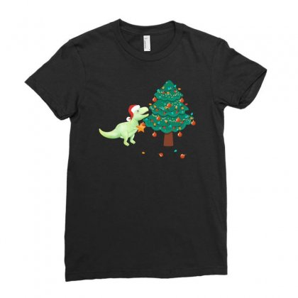 Christmas Trex Green Ladies Fitted T-shirt Designed By Hasret