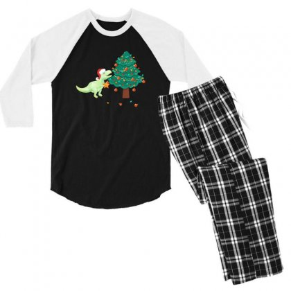 Christmas Trex Green Men's 3/4 Sleeve Pajama Set Designed By Hasret