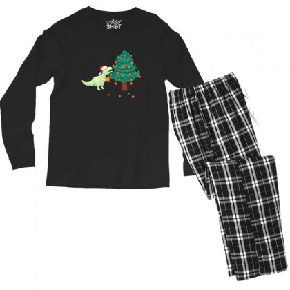 Christmas Trex Green Men's Long Sleeve Pajama Set Designed By Hasret