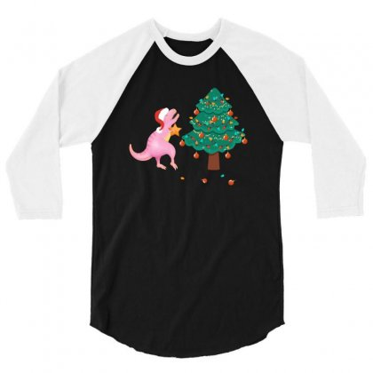 Christmas Trex Pink 3/4 Sleeve Shirt Designed By Hasret
