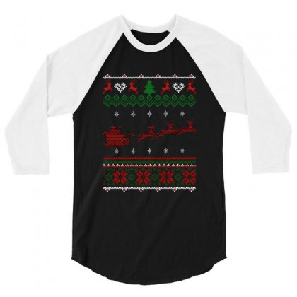 Santa Claus And Deers Ugly Christmas 3/4 Sleeve Shirt Designed By Hasret