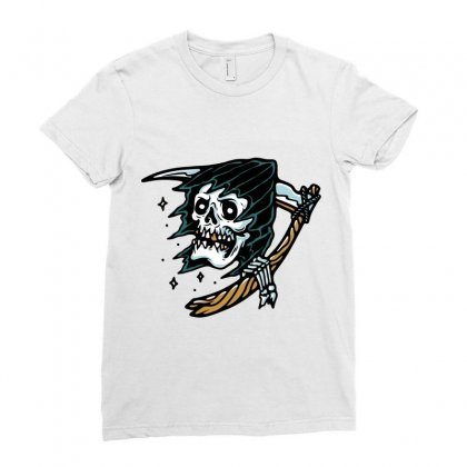Grim Reaper Tattoo Ladies Fitted T-shirt Designed By Quilimo