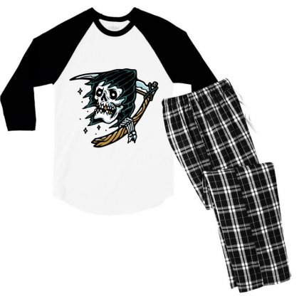 Grim Reaper Tattoo Men's 3/4 Sleeve Pajama Set Designed By Quilimo