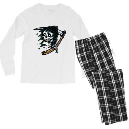 Grim Reaper Tattoo Men's Long Sleeve Pajama Set Designed By Quilimo