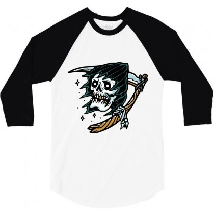 Grim Reaper Tattoo 3/4 Sleeve Shirt Designed By Quilimo