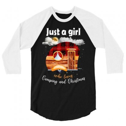 Just A Girl Who Loves Camping And Christmas 3/4 Sleeve Shirt Designed By Sengul