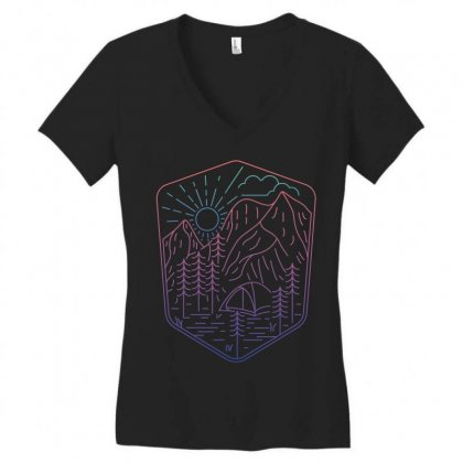 Great Journey Women's V-neck T-shirt Designed By Quilimo