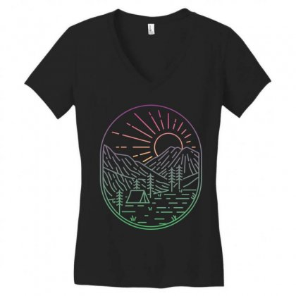 Great Sunrise Women's V-neck T-shirt Designed By Quilimo
