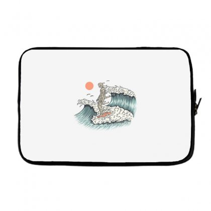 Mummy Surfing Laptop Sleeve Designed By Quilimo