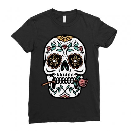 Mexican Skull Ladies Fitted T-shirt Designed By Quilimo