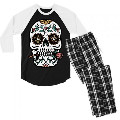 Mexican Skull Men's 3/4 Sleeve Pajama Set Designed By Quilimo