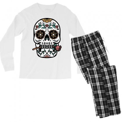 Mexican Skull Men's Long Sleeve Pajama Set Designed By Quilimo