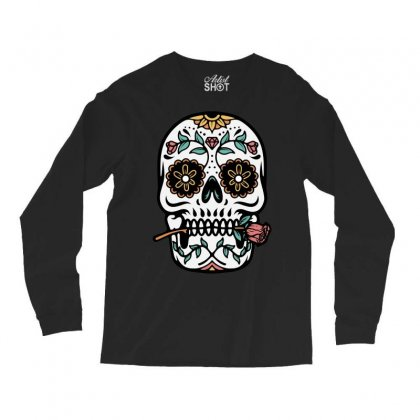 Mexican Skull Long Sleeve Shirts Designed By Quilimo