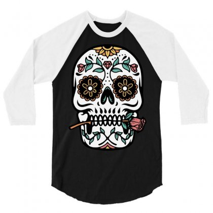 Mexican Skull 3/4 Sleeve Shirt Designed By Quilimo