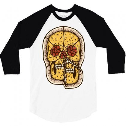Pizza Skull 3/4 Sleeve Shirt Designed By Quilimo