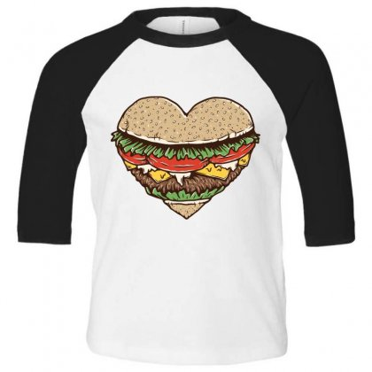Hamburger Lover Toddler 3/4 Sleeve Tee Designed By Quilimo