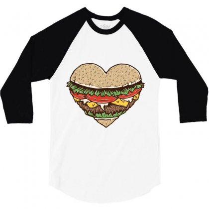 Hamburger Lover 3/4 Sleeve Shirt Designed By Quilimo
