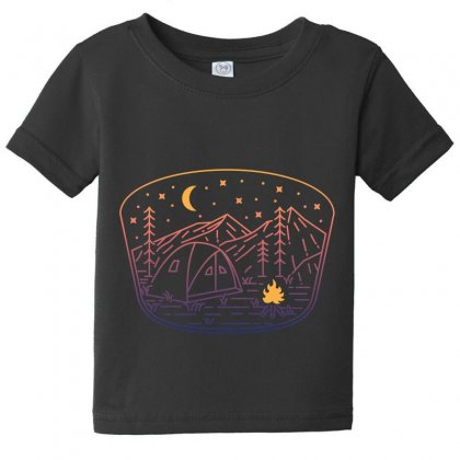 Camp Fire Line Baby Tee Designed By Quilimo