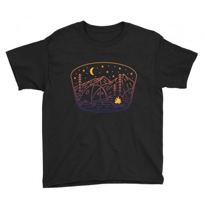 Camp Fire Line Youth Tee Designed By Quilimo