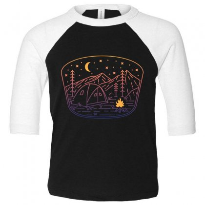 Camp Fire Line Toddler 3/4 Sleeve Tee Designed By Quilimo