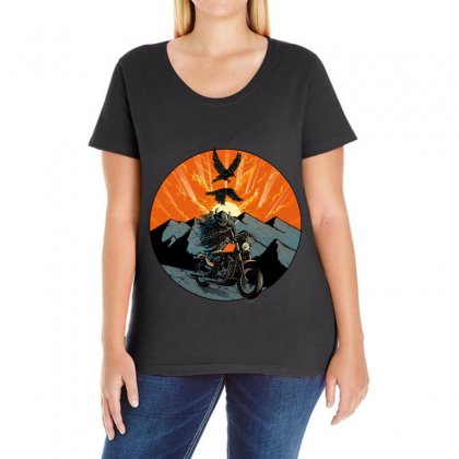 Viking Rider Ladies Curvy T-shirt Designed By Quilimo