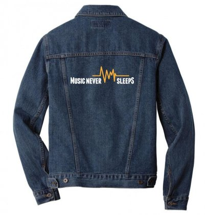 Music Never Sleeps Men Denim Jacket Designed By Sr88
