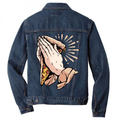 Pray For Pizza Men Denim Jacket Designed By Quilimo