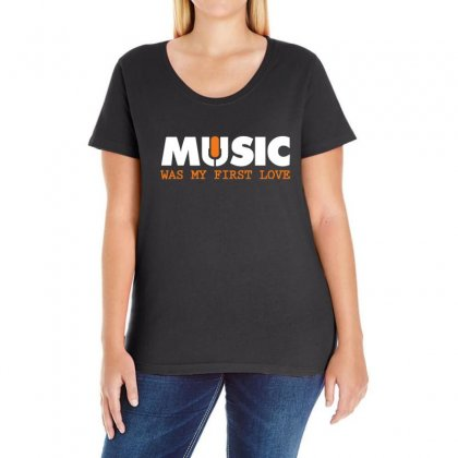 Music Was My First Love Ladies Curvy T-shirt Designed By Sr88