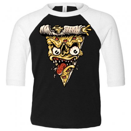 Pizza Monster Toddler 3/4 Sleeve Tee Designed By Quilimo